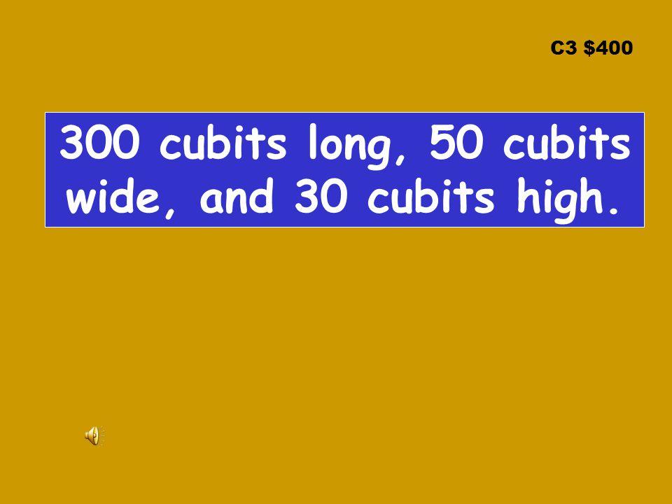 C3 $400 300 cubits long, 50 cubits wide, and 30 cubits high.