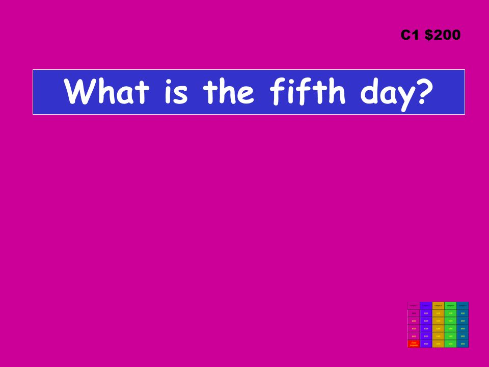 What is the fifth day? C1 $200