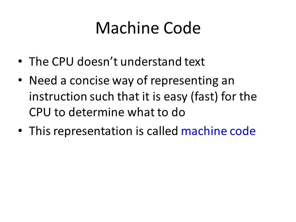 Example of Machine Code 000001F4 F7 E3 mul ebx 000001F6 BB 00000000 mov ebx,0 000001FB NextPixel: 000001FB 3B D8 cmp ebx,eax 000001FD 73 0C jae Done 000001FF C7 04 99 mov dword ptr [ecx+ebx*4],00080FFh 000080FF 00000206 83 C3 01 add ebx,1 00000209 EB F0 jmp NextPixel 0000020B Done: 0000020B C3 ret 0000020C addressencodingsource code Notice that the line labels take up no space.