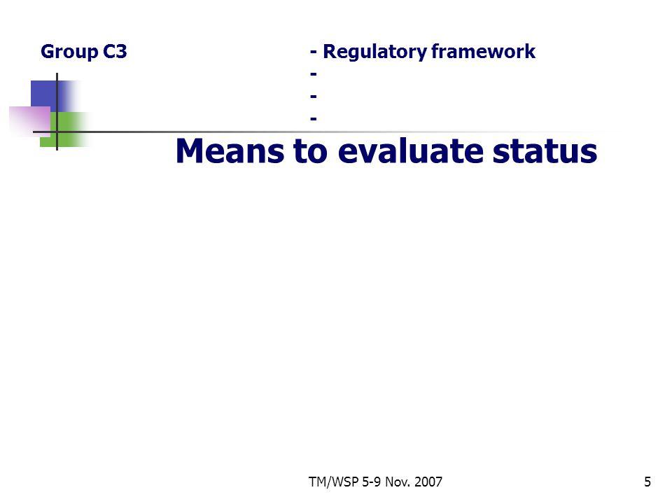 TM/WSP 5-9 Nov. 20075 Group C3- Regulatory framework - - - Means to evaluate status