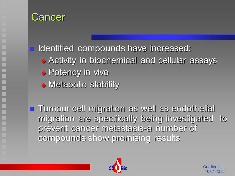 C3 Bio Confidential 16.04.2015 Restenosis Focus is on identification of new drug candidates interfering with vascular smooth muscle cells (VSMC) proliferation Focus is on identification of new drug candidates interfering with vascular smooth muscle cells (VSMC) proliferation Identified compounds may be useful for anti- restenotic therapy-some of the work is published Identified compounds may be useful for anti- restenotic therapy-some of the work is published