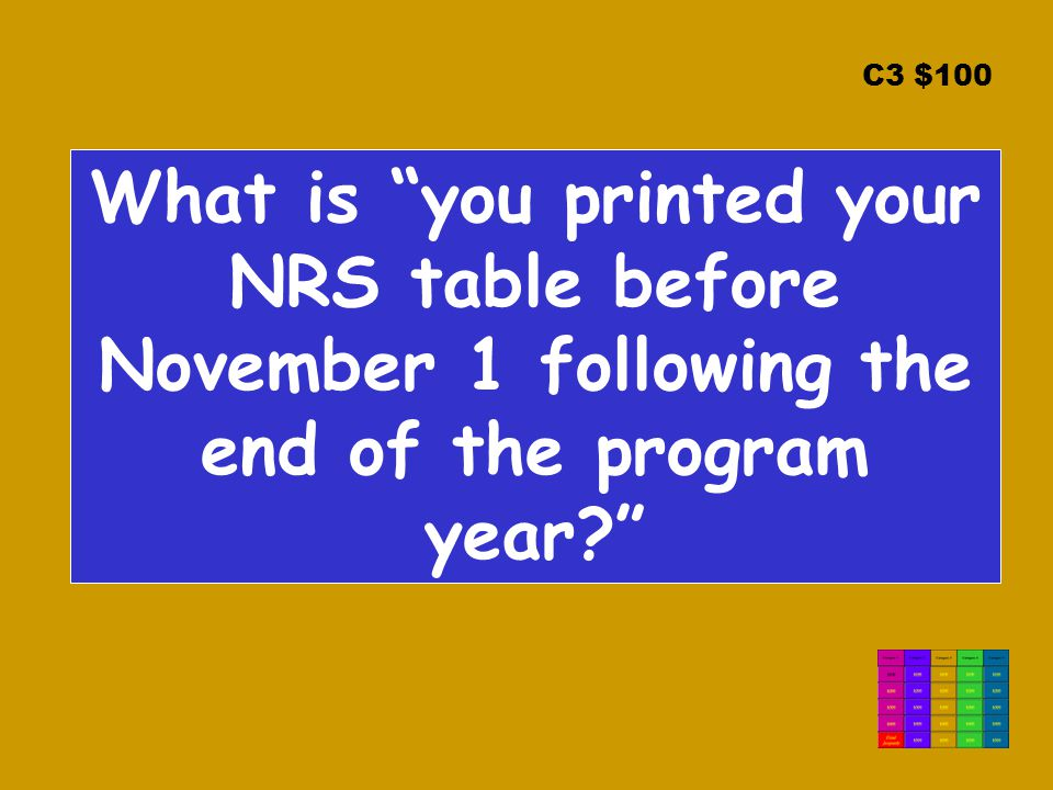 C3 $100 What is you printed your NRS table before November 1 following the end of the program year