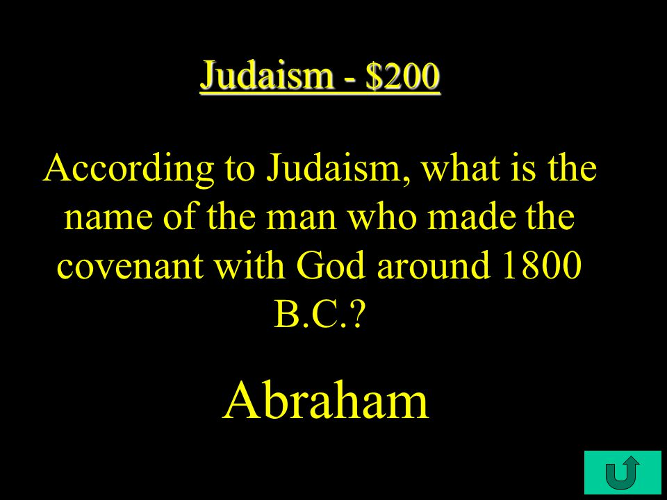 C3-$100 Judaism - $100 Judaism - $100 Like Christianity, Judaism is what type of religion.