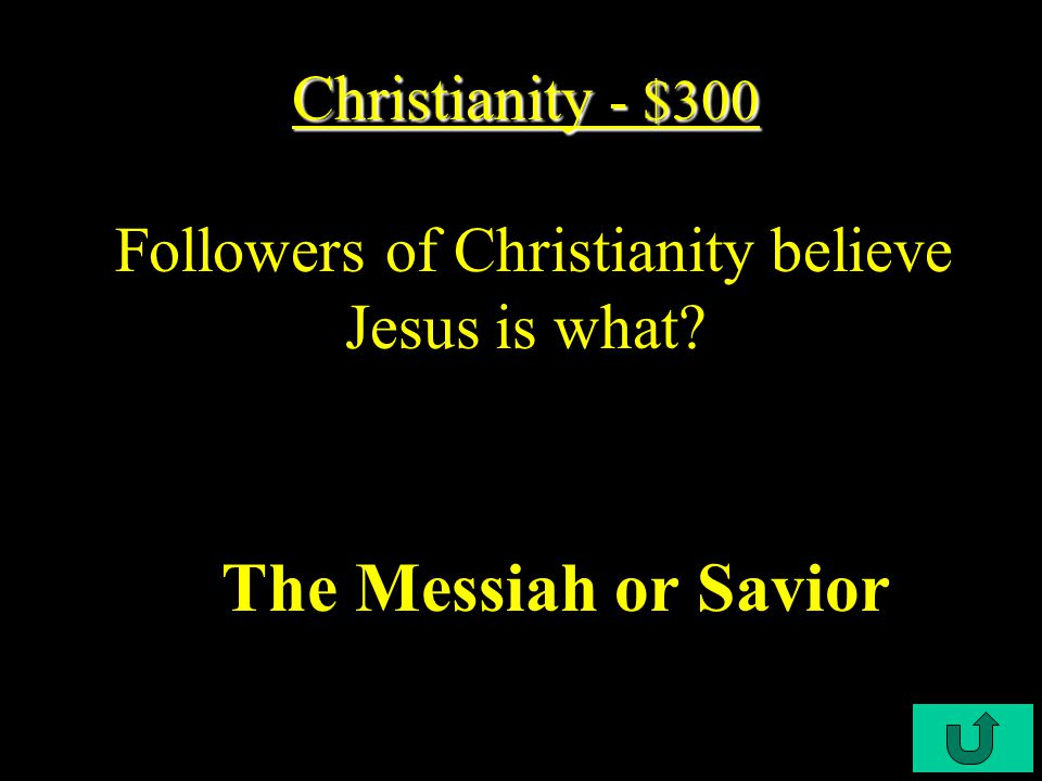 C3-200 Christianity - $200 Christianity - $200 The holy book of Christians across the world is called… The Bible
