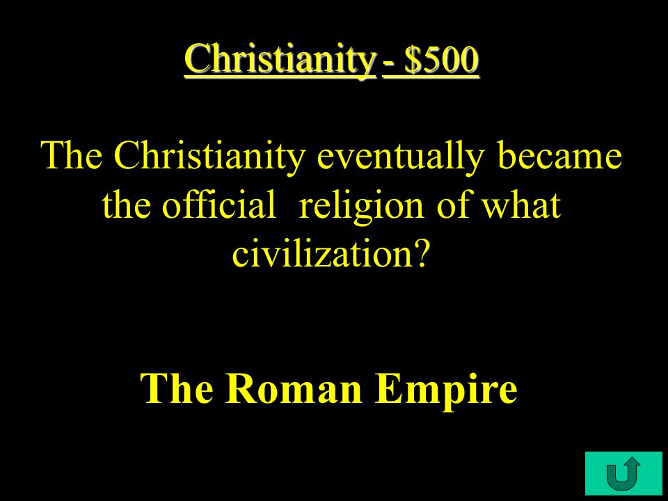 C3-$400 The 10 Commandments Christianity - $400 Christianity - $400 Like Judaism, Christianity has a written legal code called what