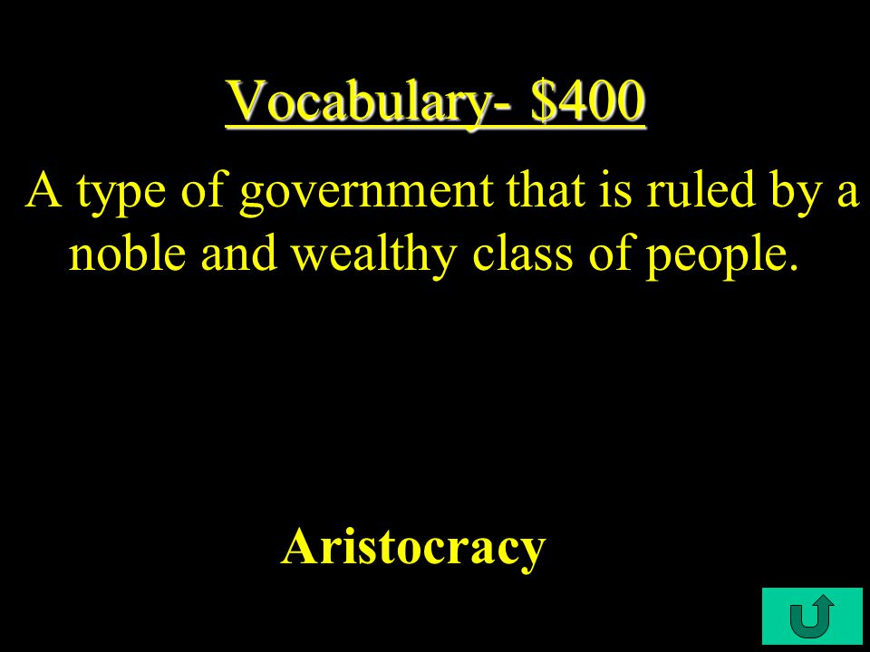 C4-$300 Vocabulary- $300 Vocabulary- $300 A type of government in which the supreme power of the government is held by the people.