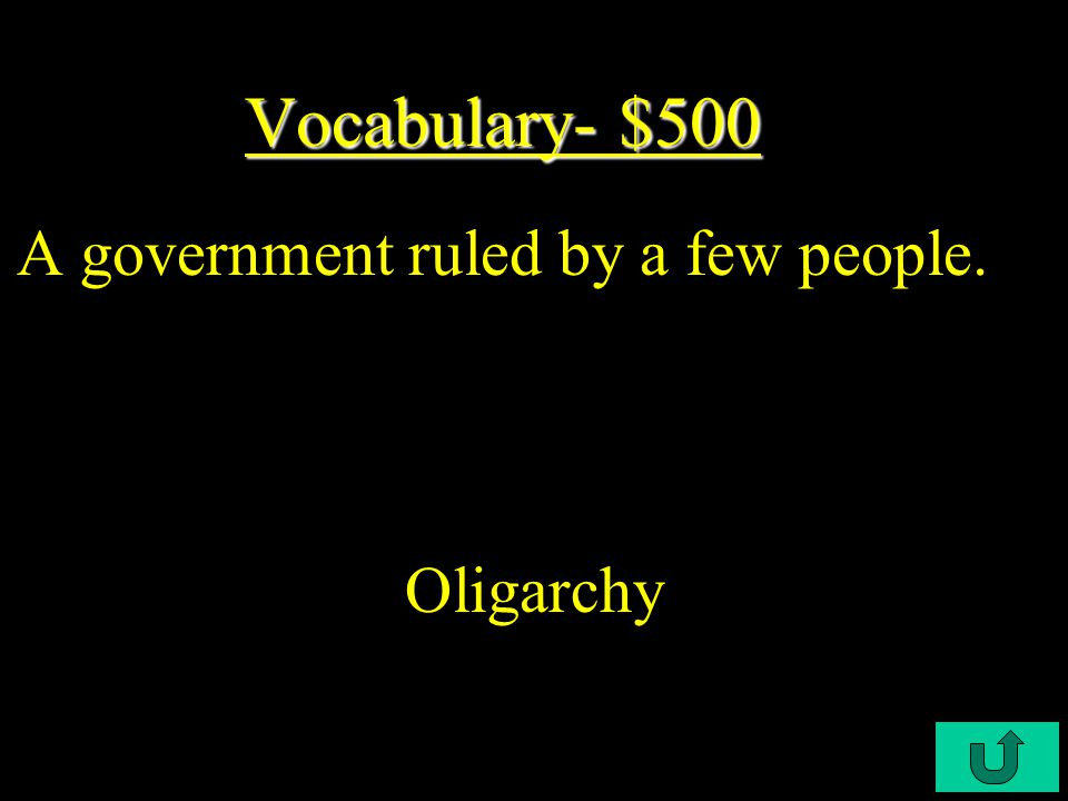 C4-$400 Vocabulary- $400 Vocabulary- $400 A type of government that is ruled by a noble and wealthy class of people.