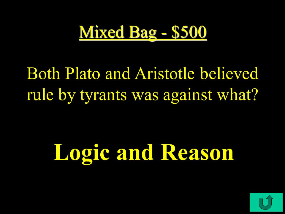 C4-$400 Mixed Bag - $400 Mixed Bag - $400 Name two things the Greeks and Romans had in common.