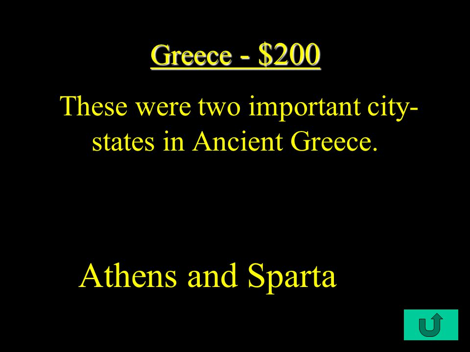 C1-$100 Greece - $100 Greece - $100 This is the type of democracy that the Ancient Greece practiced.