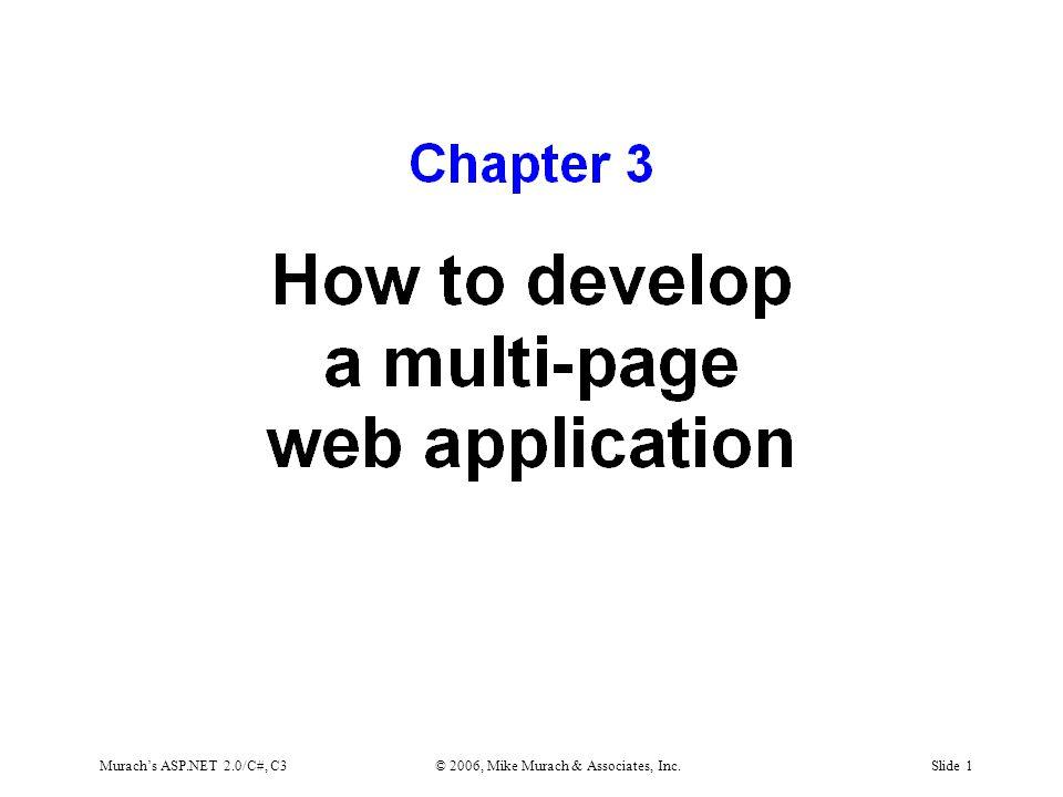 Murach's ASP.NET 2.0/C#, C3© 2006, Mike Murach & Associates, Inc.Slide 1