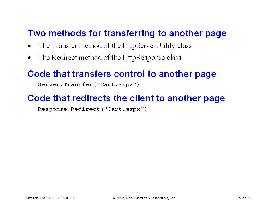 Murach's ASP.NET 2.0/C#, C3© 2006, Mike Murach & Associates, Inc.Slide 13