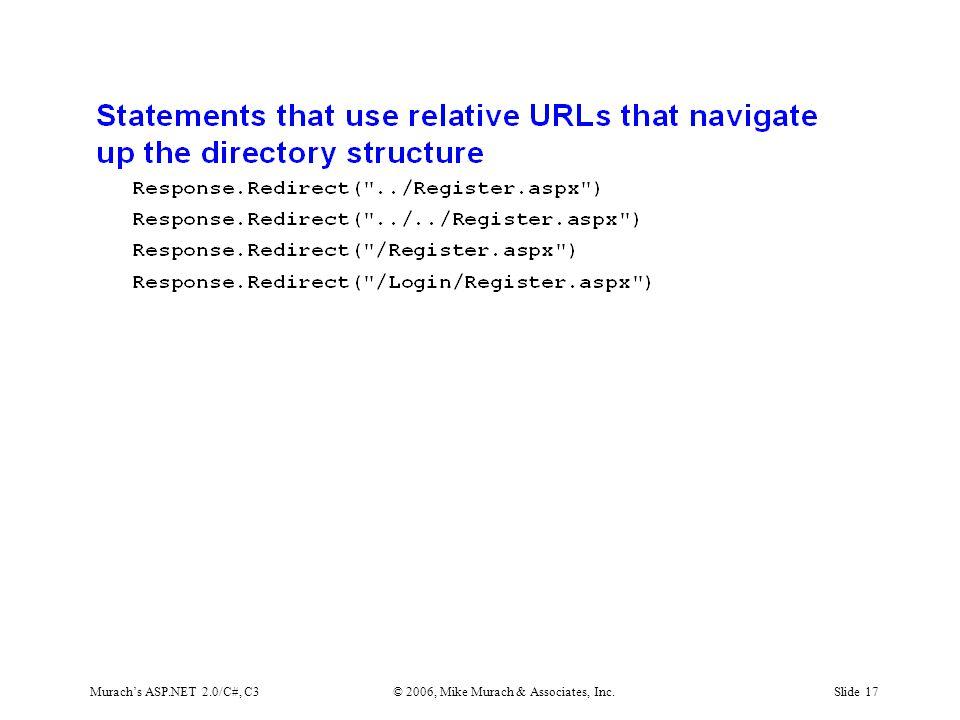 Murach's ASP.NET 2.0/C#, C3© 2006, Mike Murach & Associates, Inc.Slide 17