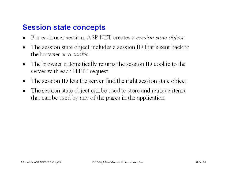 Murach's ASP.NET 2.0/C#, C3© 2006, Mike Murach & Associates, Inc.Slide 26