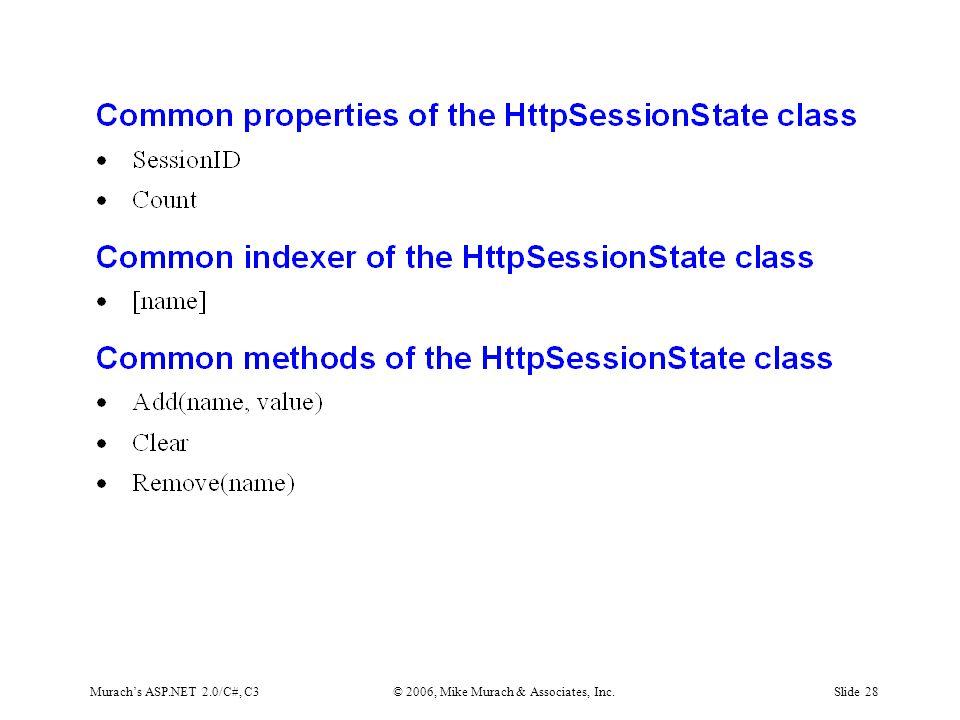 Murach's ASP.NET 2.0/C#, C3© 2006, Mike Murach & Associates, Inc.Slide 28