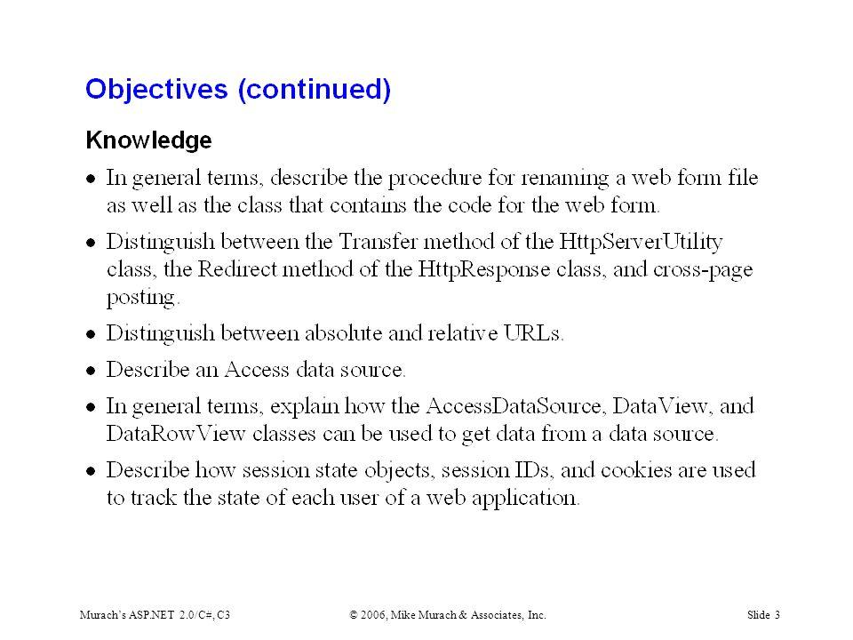 Murach's ASP.NET 2.0/C#, C3© 2006, Mike Murach & Associates, Inc.Slide 3
