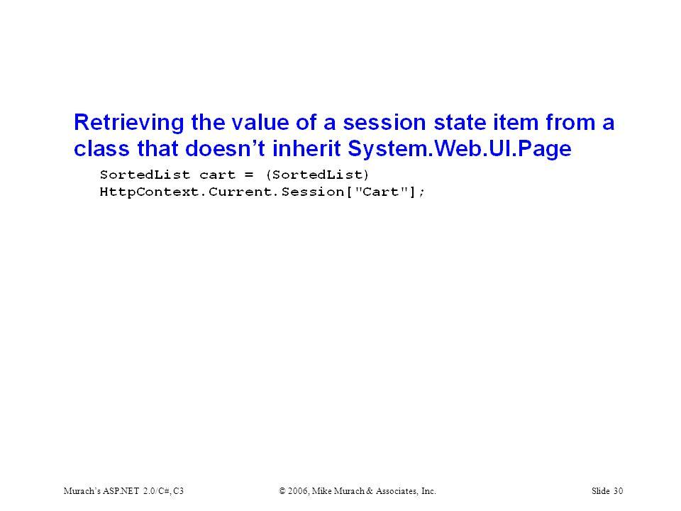 Murach's ASP.NET 2.0/C#, C3© 2006, Mike Murach & Associates, Inc.Slide 30