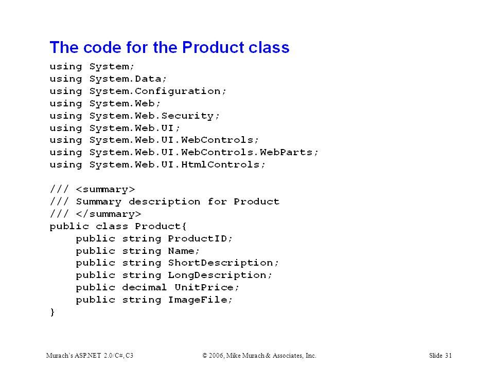 Murach's ASP.NET 2.0/C#, C3© 2006, Mike Murach & Associates, Inc.Slide 31
