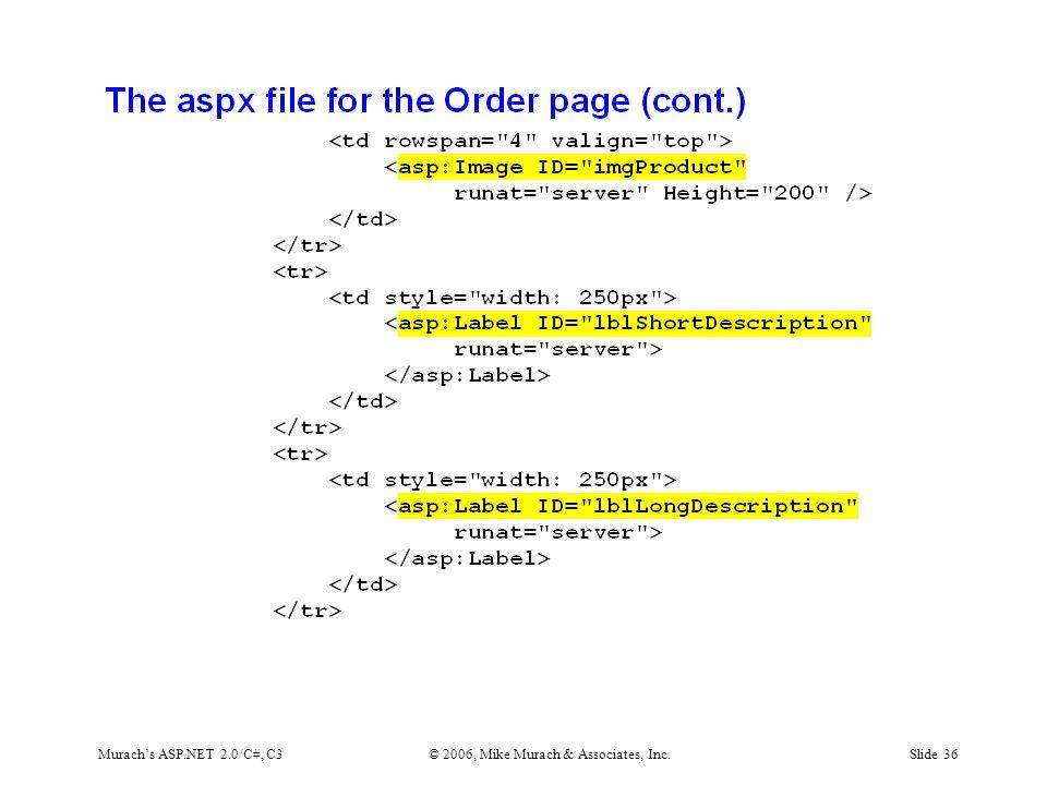 Murach's ASP.NET 2.0/C#, C3© 2006, Mike Murach & Associates, Inc.Slide 36