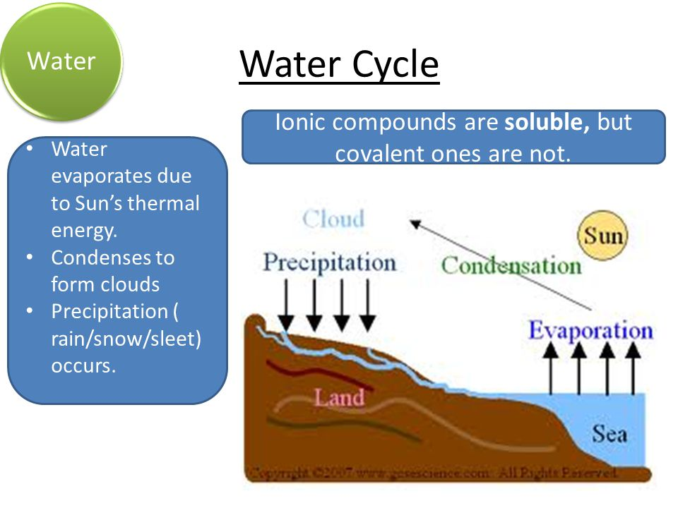 Water Cycle Water Water evaporates due to Sun's thermal energy.