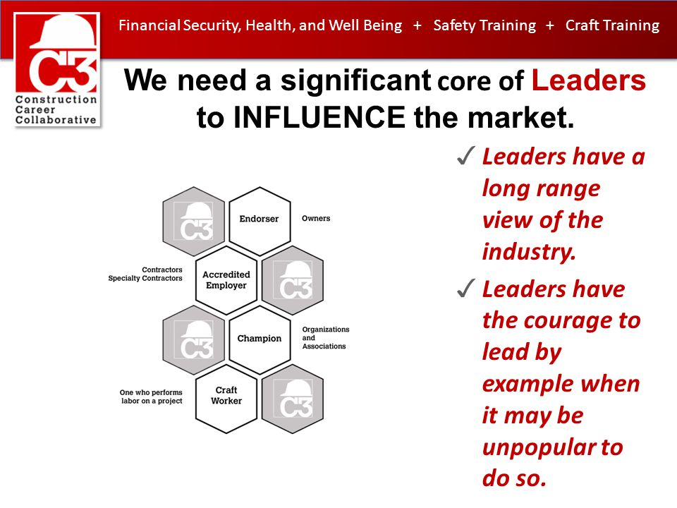 We need a significant core of Leaders to INFLUENCE the market. ✓ Leaders have a long range view of the industry. ✓ Leaders have the courage to lead by