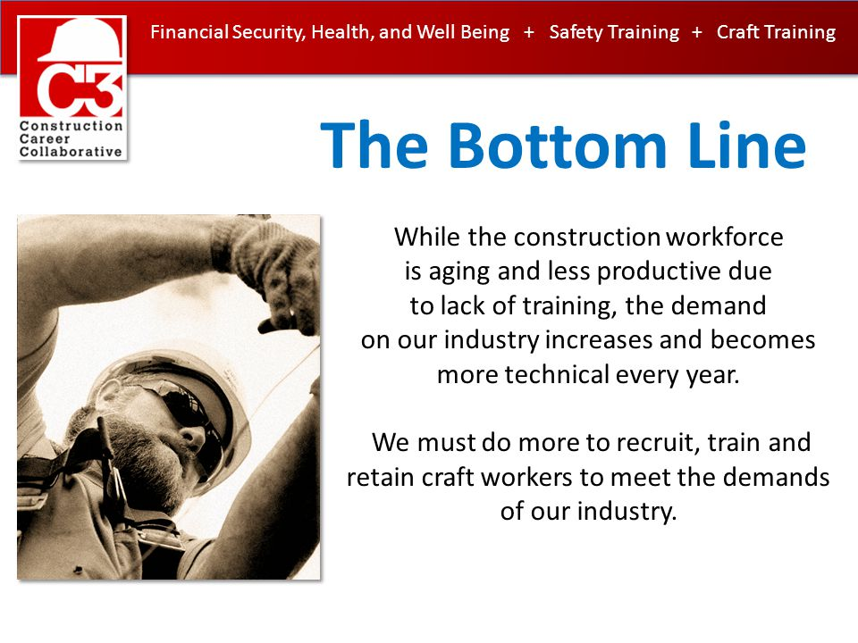 Financial Security, Health, and Well Being + Safety Training + Craft Training Craft & Safety Training reduced or eliminated for many trades Misclassification of non-exempt (hourly) workers resulting in the improper elimination of overtime, social security, federal & state unemployment taxes, as well as employee benefits, all in an effort to reduce cost in pursuit of low bid Push in K-12 schools to prepare everyone for college resulting in the elimination of wood/metal shop classes which sowed the seeds of interest in construction The seeming limitless supply of undocumented workers who labor in the shadows thereby depressing wages The perception among young people that construction is dirty, unsafe and for undocumented workers How did we get into this mess?