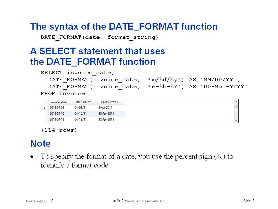 Murach s MySQL, C3© 2012, Mike Murach & Associates, Inc.Slide 11