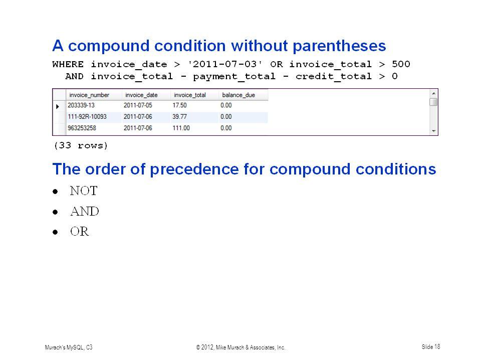 Murach s MySQL, C3© 2012, Mike Murach & Associates, Inc.Slide 18