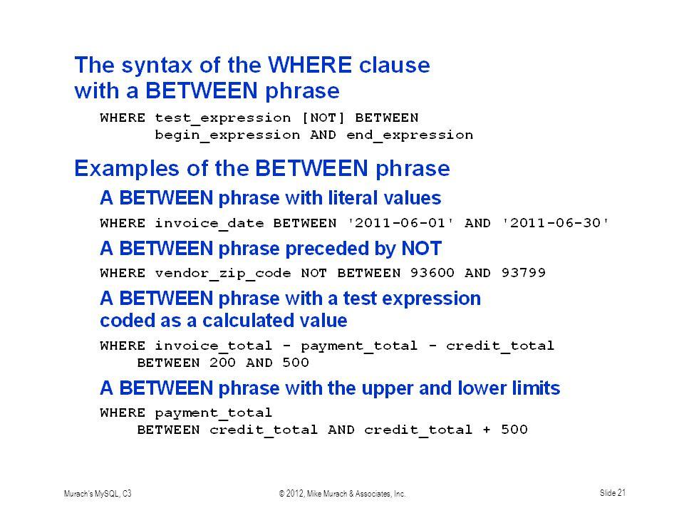 Murach s MySQL, C3© 2012, Mike Murach & Associates, Inc.Slide 21