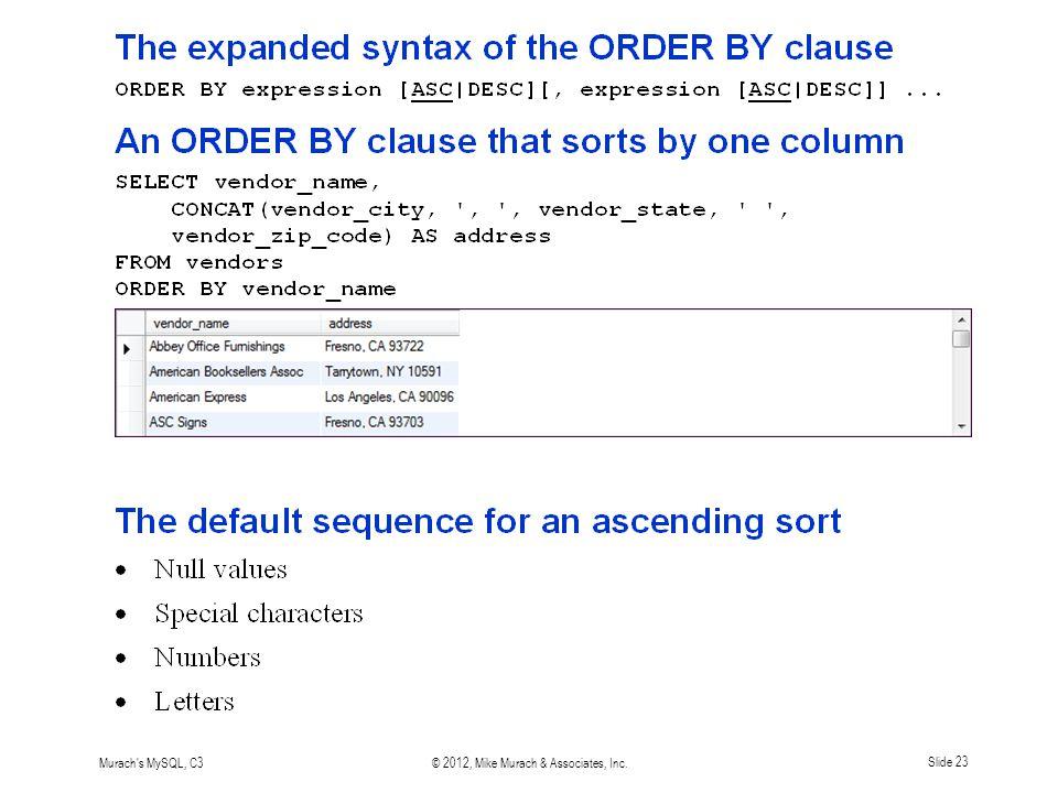 Murach s MySQL, C3© 2012, Mike Murach & Associates, Inc.Slide 23