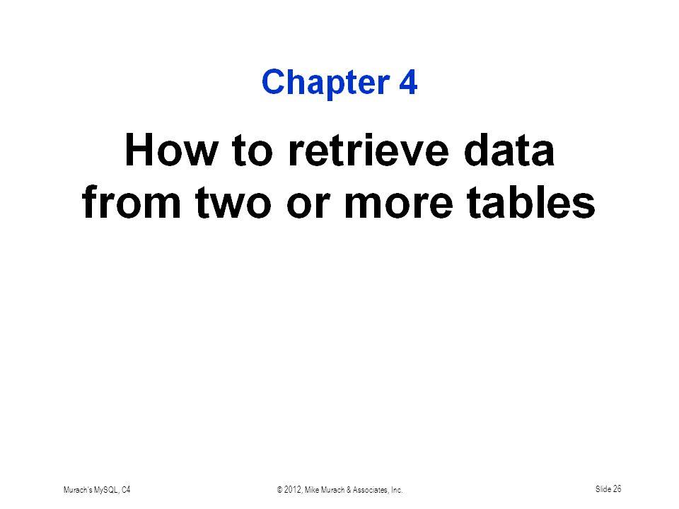 Murach s MySQL, C4© 2012, Mike Murach & Associates, Inc.Slide 26
