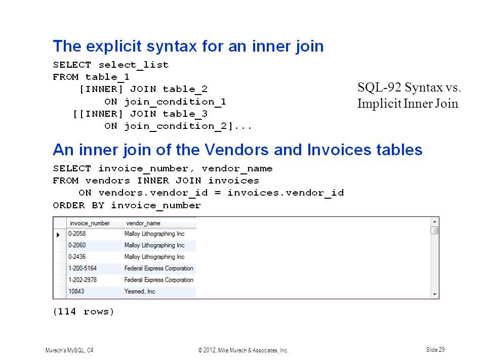 Murach s MySQL, C4© 2012, Mike Murach & Associates, Inc.Slide 29 SQL-92 Syntax vs.