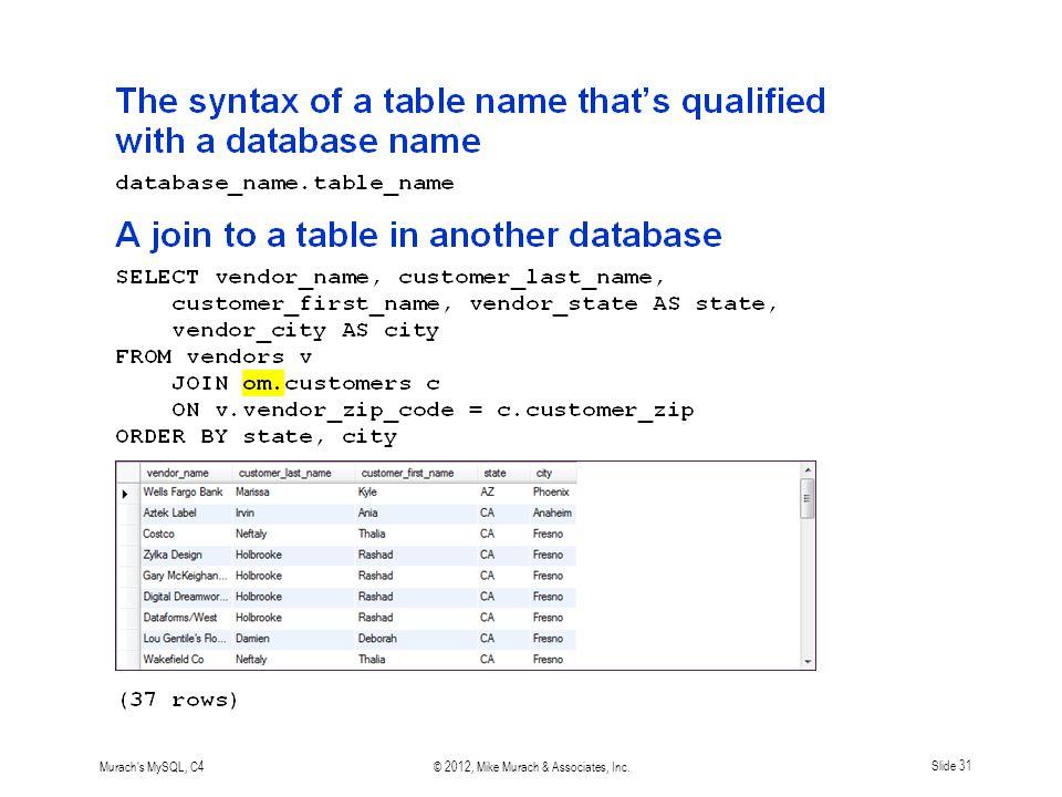 Murach s MySQL, C4© 2012, Mike Murach & Associates, Inc.Slide 31