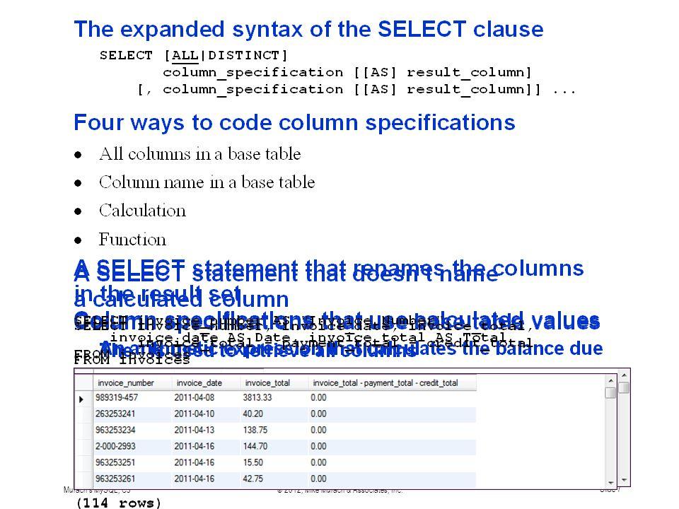 Murach s MySQL, C3© 2012, Mike Murach & Associates, Inc.Slide 7