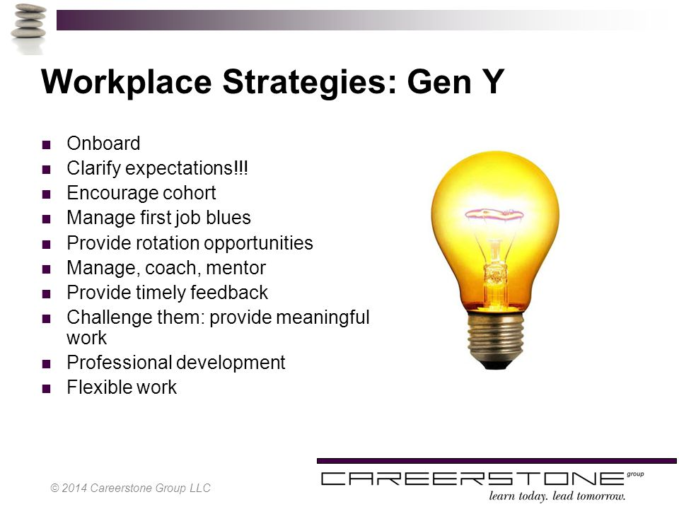 Workplace Strategies: Gen Y Onboard Clarify expectations!!.