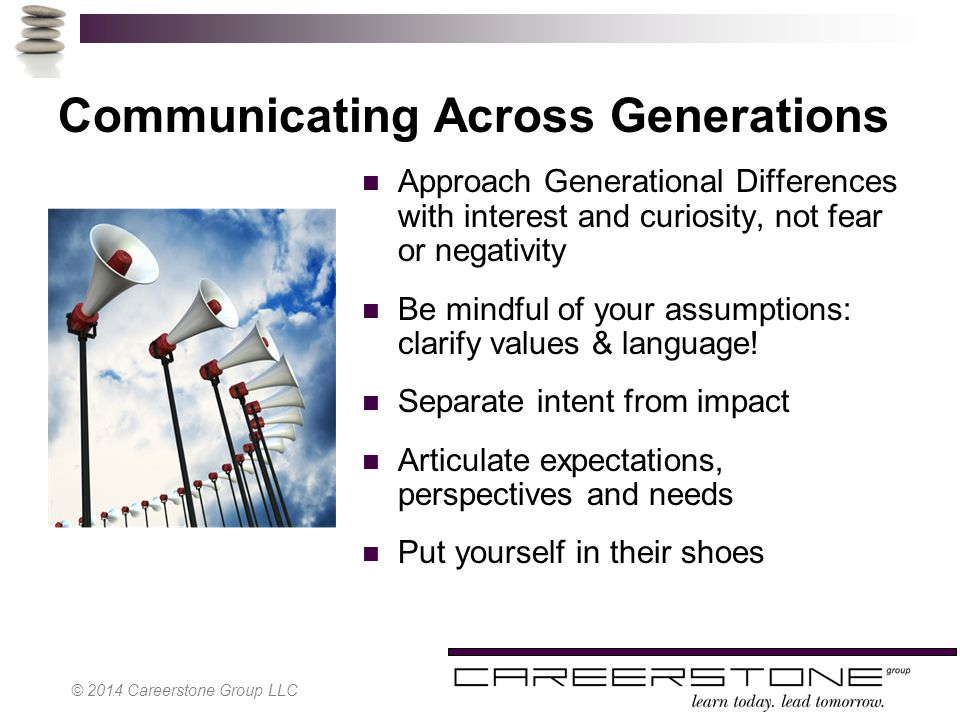 Communicating Across Generations Approach Generational Differences with interest and curiosity, not fear or negativity Be mindful of your assumptions: clarify values & language.