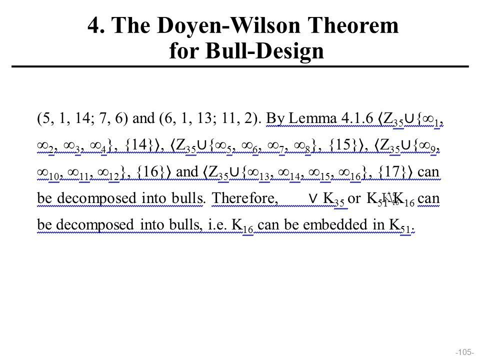 -105- (5, 1, 14; 7, 6) and (6, 1, 13; 11, 2). By Lemma 4.1.6  Z 35 ∪ {∞ 1, ∞ 2, ∞ 3, ∞ 4 }, {14} ,  Z 35 ∪ {∞ 5, ∞ 6, ∞ 7, ∞ 8 }, {15} ,  Z 35 ∪