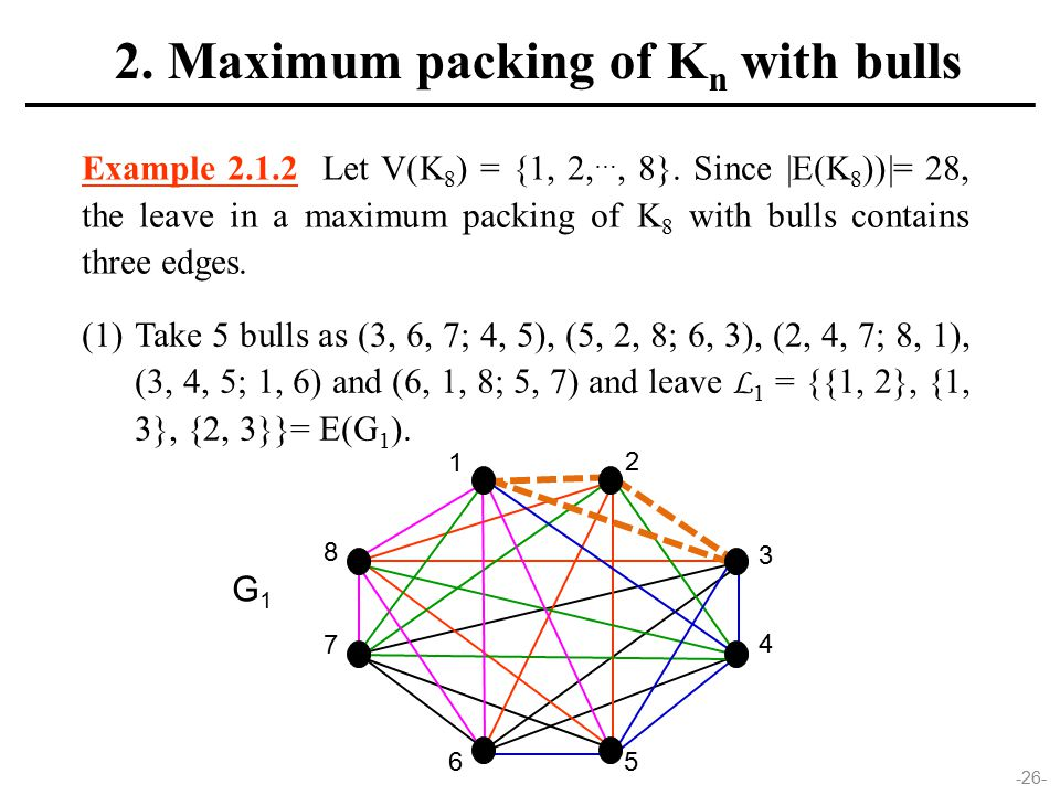 -26- Example 2.1.2 Let V(K 8 ) = {1, 2, …, 8}. Since |E(K 8 ))|= 28, the leave in a maximum packing of K 8 with bulls contains three edges. (1)Take 5