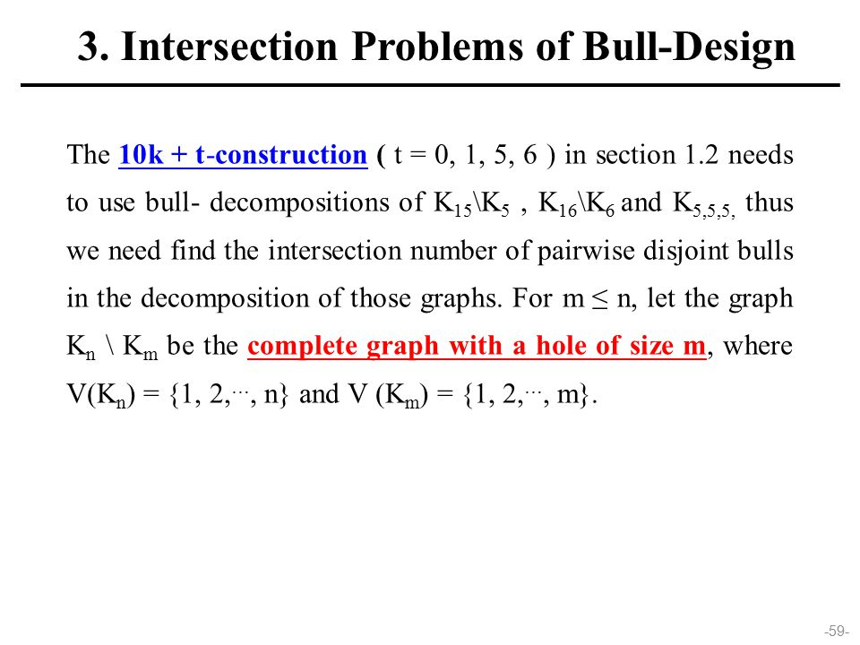 -59- 3. Intersection Problems of Bull-Design The 10k + t-construction ( t = 0, 1, 5, 6 ) in section 1.2 needs to use bull- decompositions of K 15 \K 5