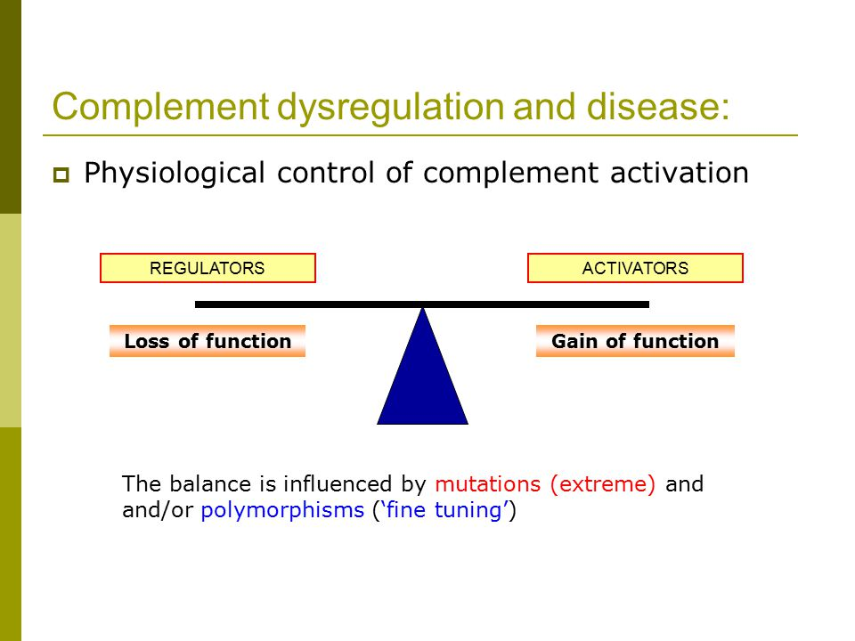  Physiological control of complement activation REGULATORS Complement dysregulation and disease: ACTIVATORS Loss of functionGain of function The balance is influenced by mutations (extreme) and and/or polymorphisms ('fine tuning')