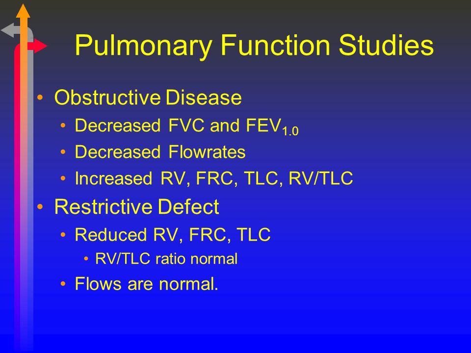 Pulmonary Function Studies Obstructive Disease Decreased FVC and FEV 1.0 Decreased Flowrates Increased RV, FRC, TLC, RV/TLC Restrictive Defect Reduced