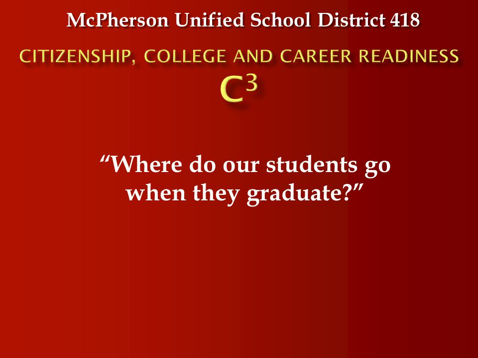 "McPherson Unified School District 418 ""Where do our students go when they graduate?"""