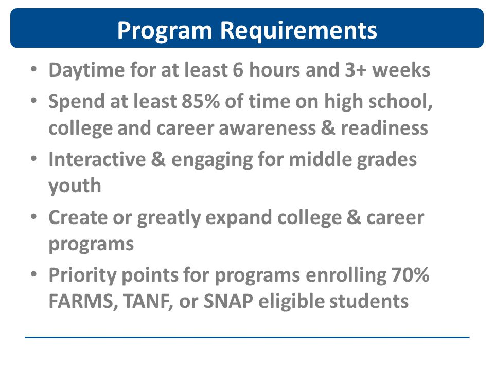 Program Requirements Daytime for at least 6 hours and 3+ weeks Spend at least 85% of time on high school, college and career awareness & readiness Int