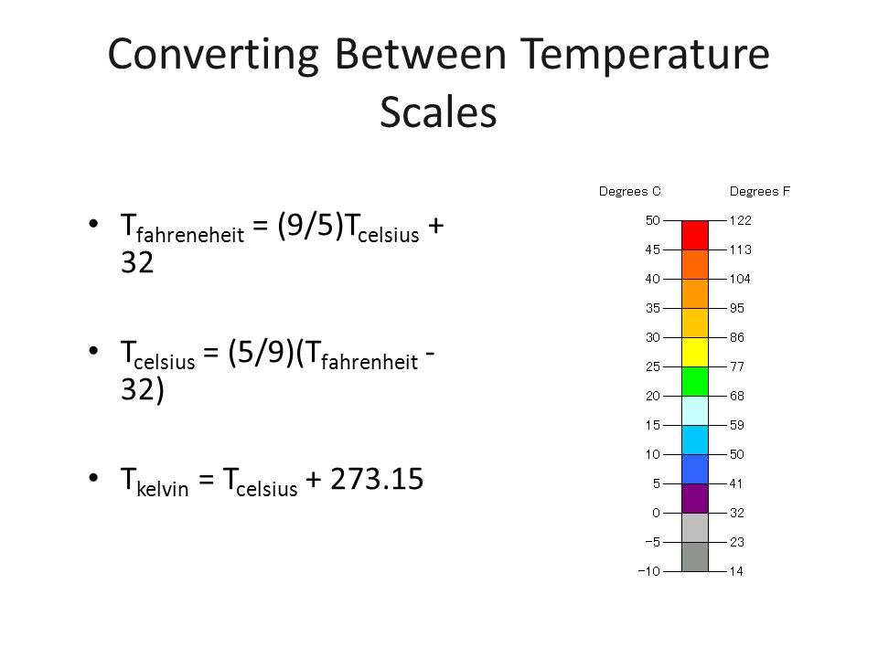 Converting Between Temperature Scales T fahreneheit = (9/5)T celsius + 32 T celsius = (5/9)(T fahrenheit - 32) T kelvin = T celsius + 273.15