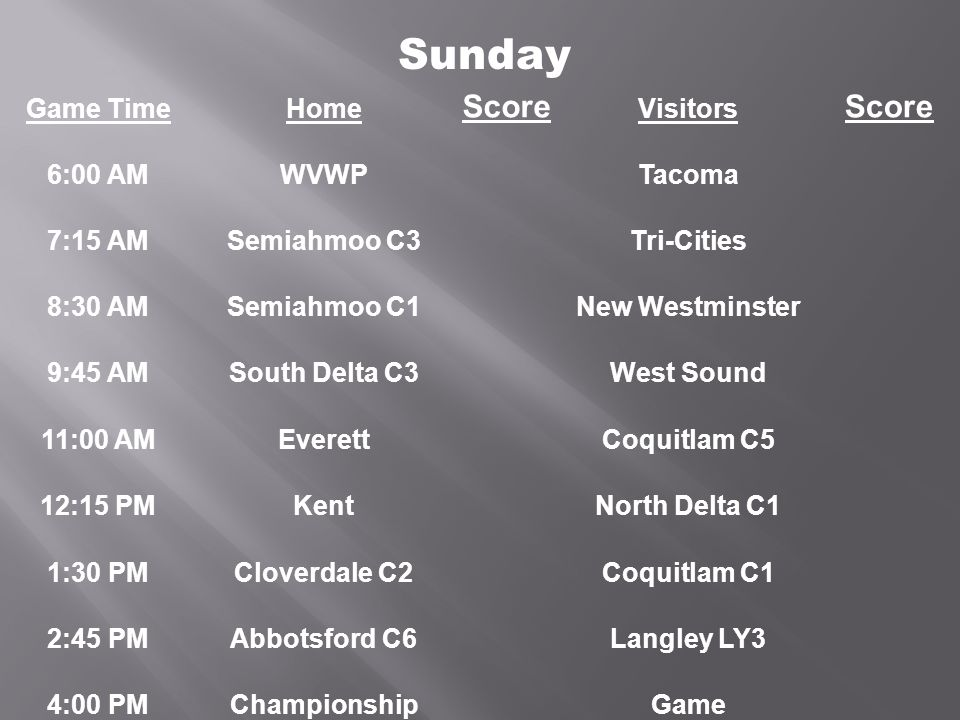 Game TimeHome Score Visitors Score 6:00 AMWVWPTacoma 7:15 AMSemiahmoo C3Tri-Cities 8:30 AMSemiahmoo C1New Westminster 9:45 AMSouth Delta C3West Sound