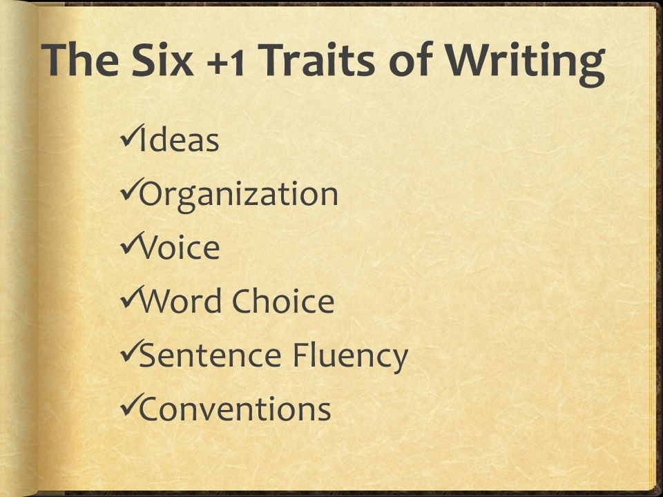 The Six +1 Traits of Writing Ideas Organization Voice Word Choice Sentence Fluency Conventions