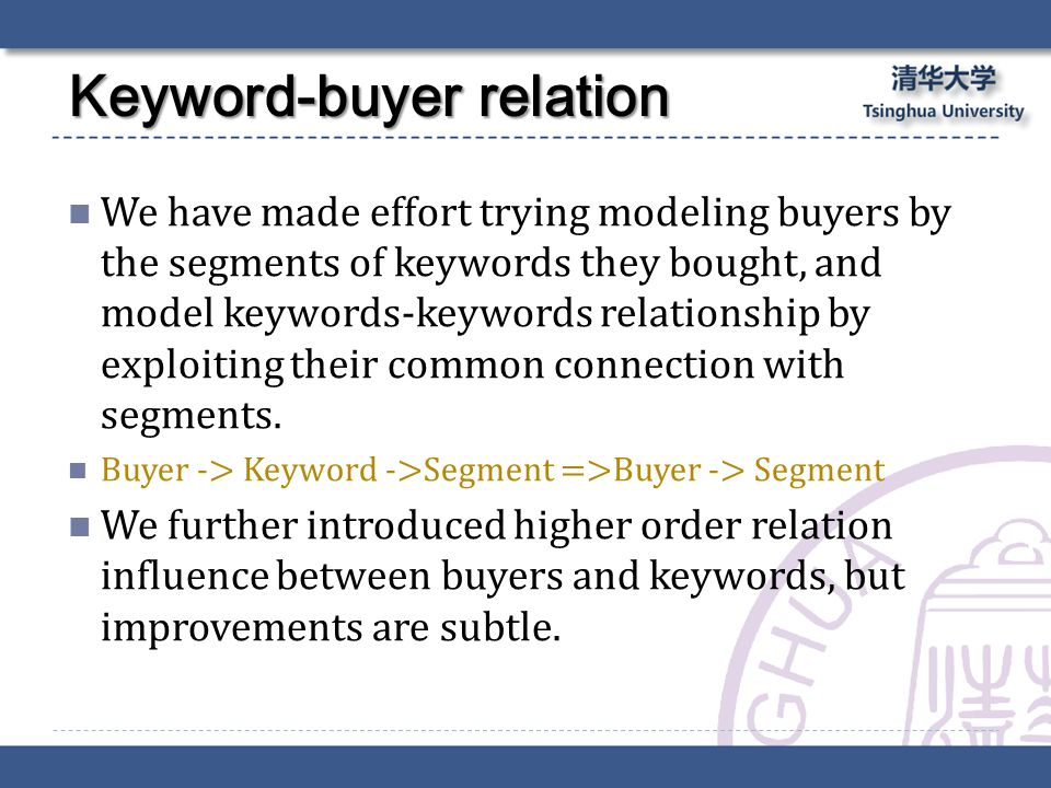 We have made effort trying modeling buyers by the segments of keywords they bought, and model keywords-keywords relationship by exploiting their common connection with segments.