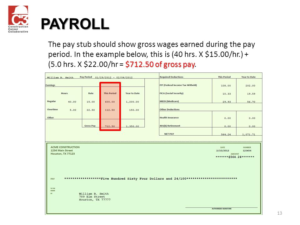 13 $712.50 of gross pay The pay stub should show gross wages earned during the pay period.