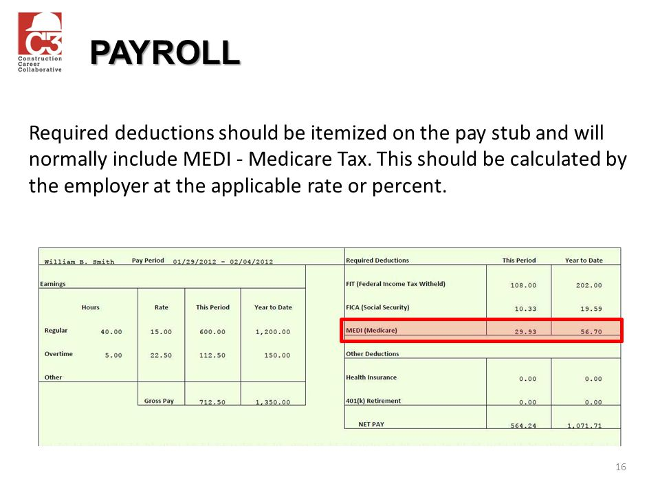 16 Required deductions should be itemized on the pay stub and will normally include MEDI - Medicare Tax.