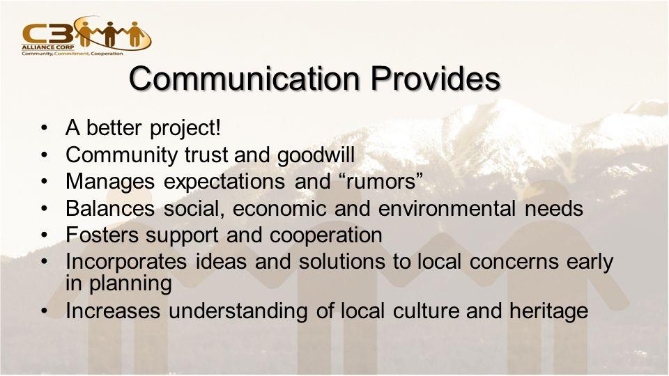 Communication Provides A better project.