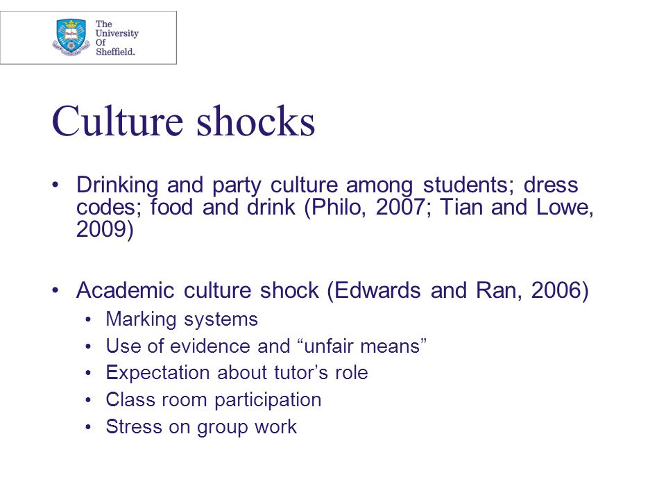 Culture shocks Drinking and party culture among students; dress codes; food and drink (Philo, 2007; Tian and Lowe, 2009) Academic culture shock (Edwar